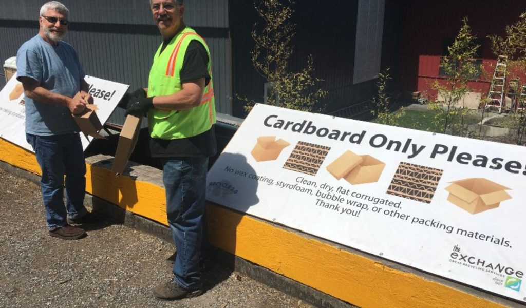 Cardboard recycling on Orcas Island